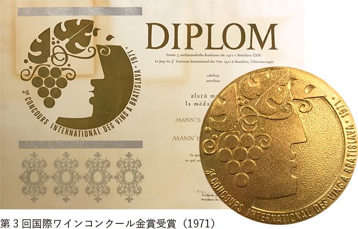 第3回国際ワインコンクール金賞受賞(1971)